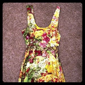 Yellow floral dress with cut outs